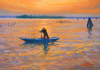 pastel painting of Burano rower, by John Hulsey