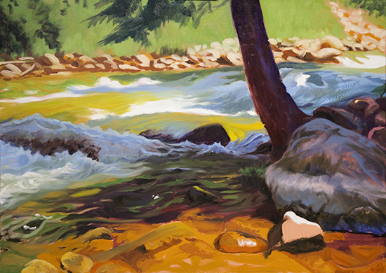 Step-by-step oil painting of Gore Creek Colorado by John Hulsey
