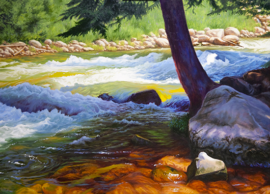 oil painting of Gore Creek, Co., by John Hulsey