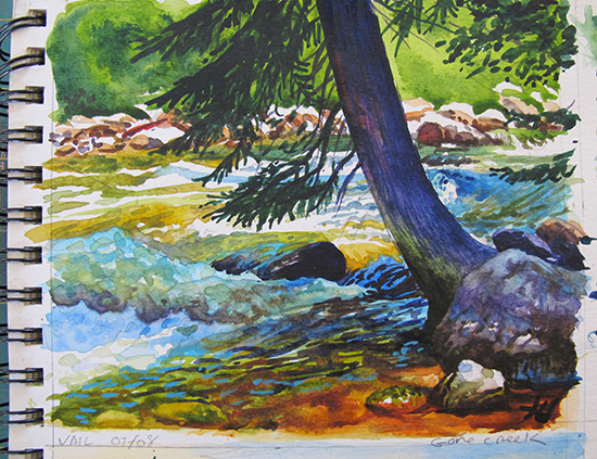 Plein air watercolor painting of Gore Creek by John Hulsey