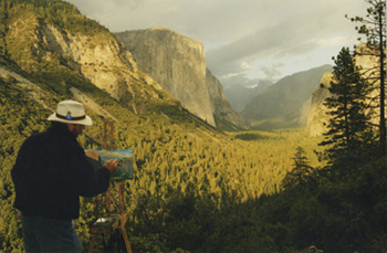 Photograph of John Hulsey Painting in Yosemite
