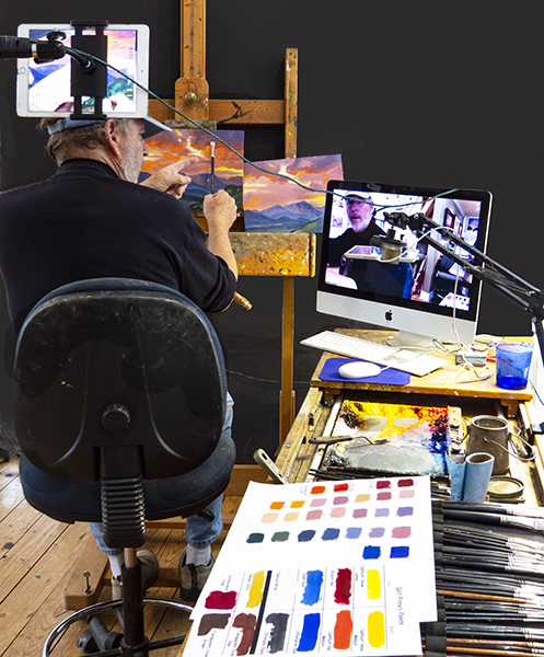John Hulsey Conducting a Zoom Painting Workshop