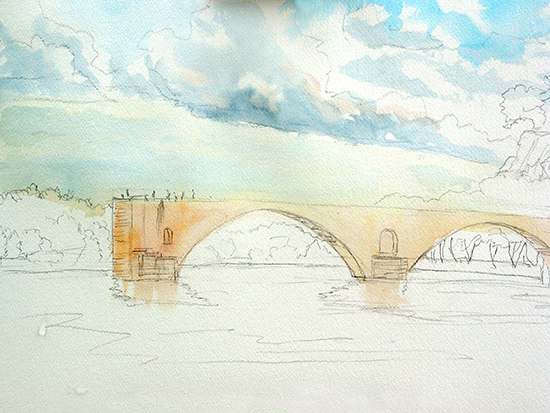 Watercolor Painting of Le Pont d'Avignon, by John Hulsey