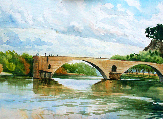 Watercolor Painting, Le Pont d'Avignon, by John Hulsey