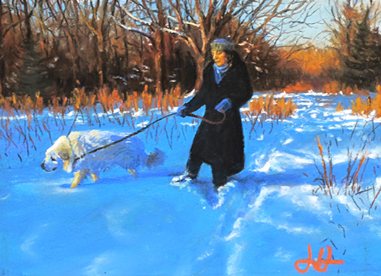 pastel painting of woman and Great Pyrenees dog, by John Hulsey