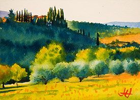 Pastel Painting of Olive Grove in Tuscany, by John Hulsey