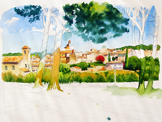 Step by step watercolor painting demonstration through for Watercolor painting classes near me