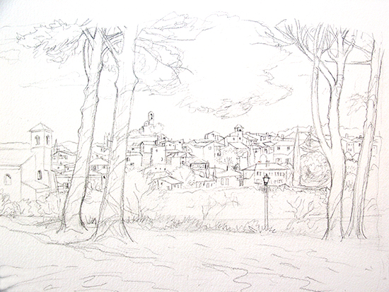 Drawing of the village of Lourmarin, in Provence, France, by John Hulsey