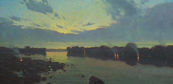 Campfires along a river, oil, by Michael Albrechtsen