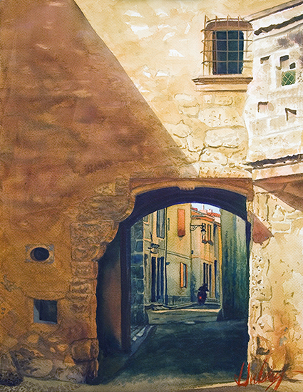 watercolor, The Old Gate, Arles by © John Hulsey