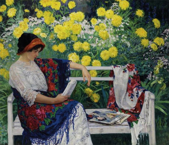 oil painting of woman reading in a garden by Nikolay Belsky