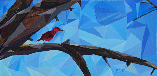 acrylic abstract painting of a Tanager in a tree © Bob Bahr