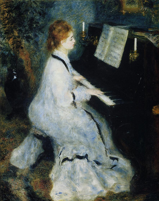 oil painting of a woman at a piano by Renoir