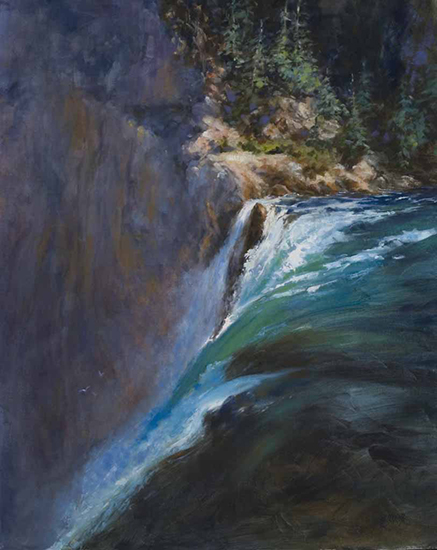 Overflowing Yellowstone Falls oil painting © Susan Blackwood