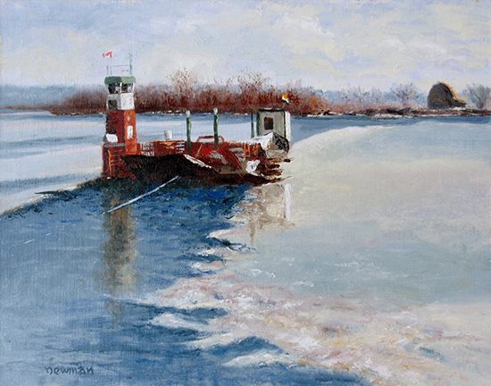 "Gagetown Ferry, 8 x 10"", Oil, plein air, © Bruce Newman"