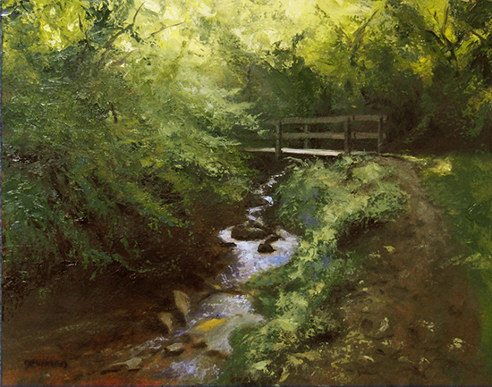 "The Creekside Trail, 11 x 14"", Oil, © Bruce Newman"
