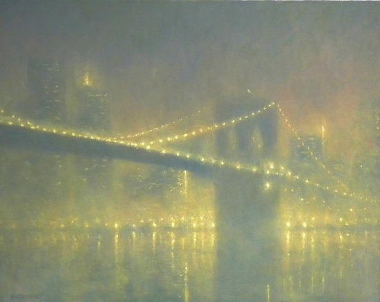 "Foggy Evening, Brooklyn Bridge, 22 x 28"", Oil, © Michael Budden"