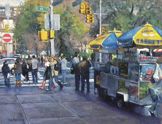 "Springtime near Union Square, NYC, 11 x 14"" Oil, © Michael Budden"