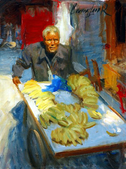 Oil Painting of a Banana Man © Ken Cadwallader
