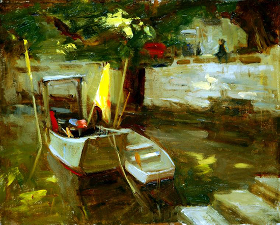 Oil Painting of a Quiet Harbor © Ken Cadwallader