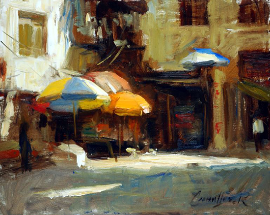Oil Painting of a Market Place by Ken Cadwallader