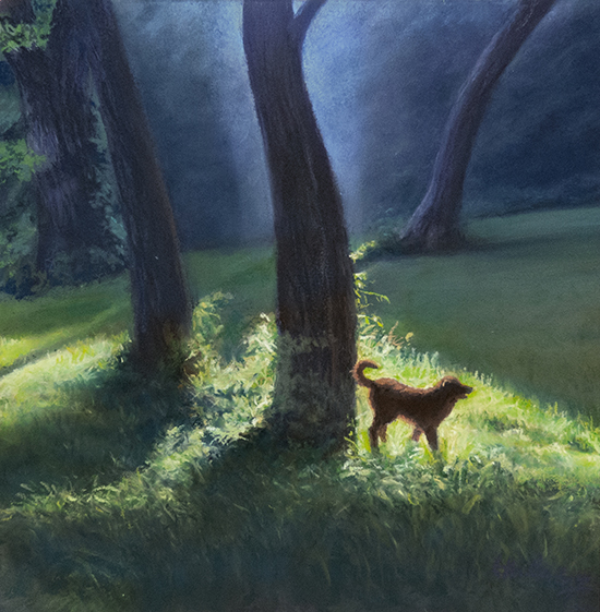 casein and pastel painting of sunlit meadow with dog
