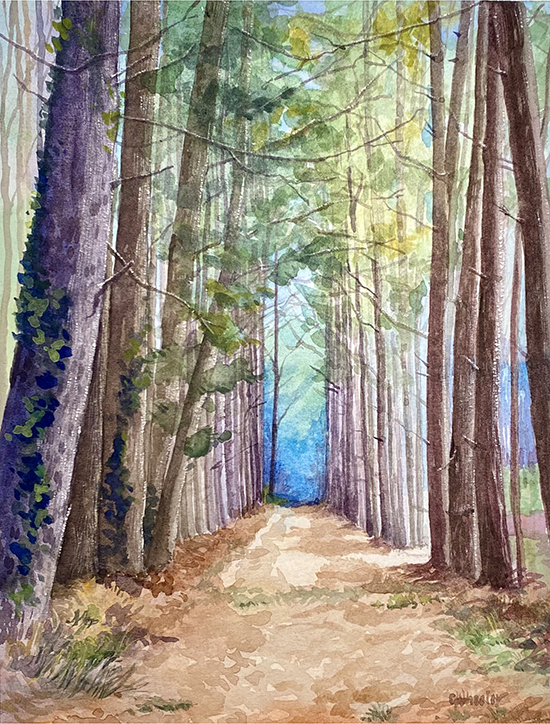 Green Cathedral, Watercolor, © Cindy Wheeler
