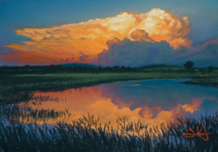 Pastel Painting of Storm Clouds at Sunset by John Hulsey