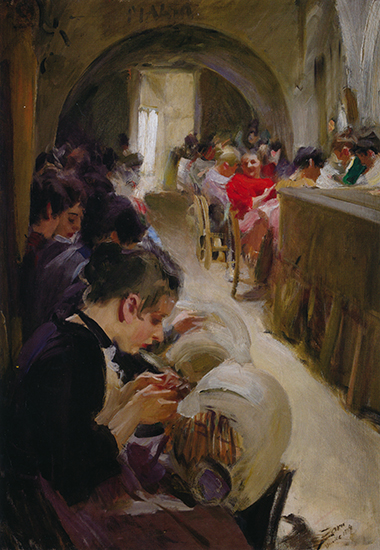 oil painting of lace makers at work, 1894, by Anders Zorn.