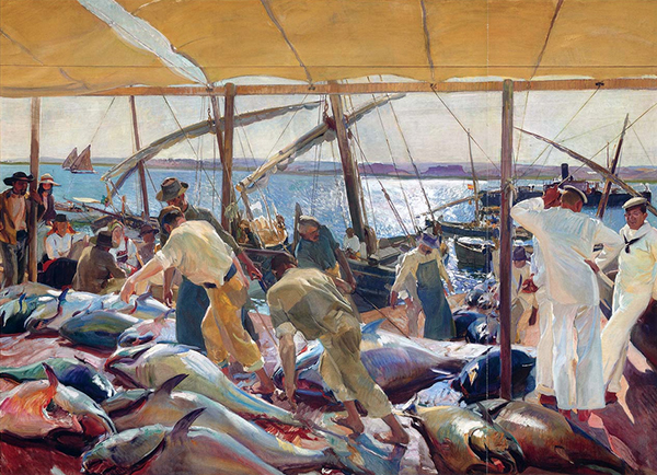 oil painting of fishermen unloading tuns, 1919, by Joaquin Sorolla