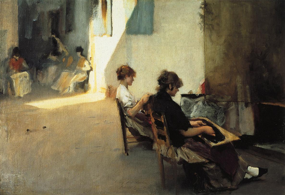 oil painting of Venetian women stringing beads, 1880, by John Sargent