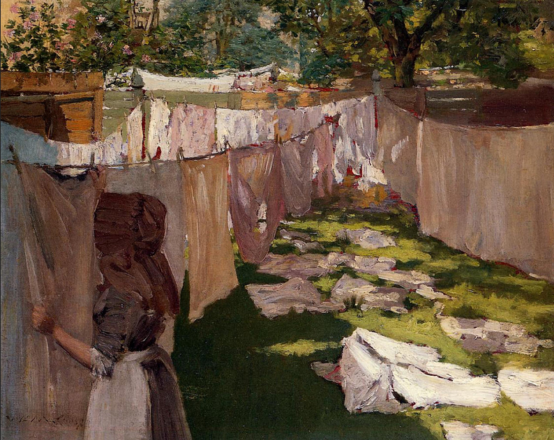 oil painting of woman hanging out laundry in a backyard, 1886, Wm. Merritt Chase