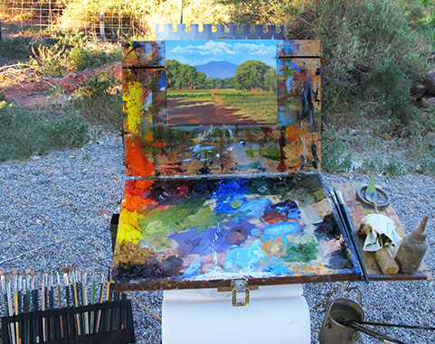 Photo of John Hulsey's plein air set up in New Mexico