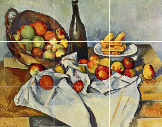 Cezanne painting with grid