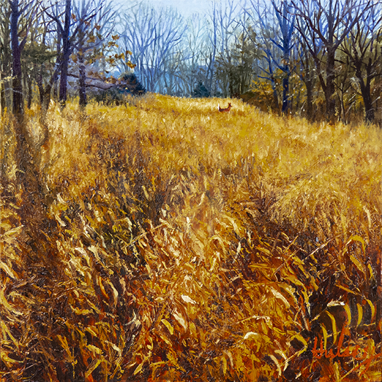 "Oil landscape of meadow and wood , Sea Oats, 12 x 12"",  © J. Hulsey"