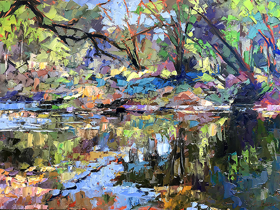 "As The River Runs, 18 x 24"", Oil, © Cynthia Rosen"
