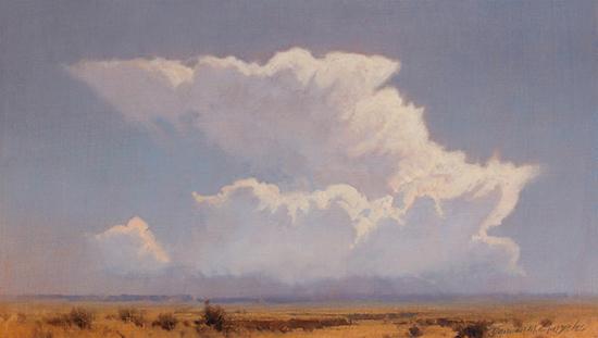 "Cloudburst, 7 x 12"", Oil, © Damien Gonzales"