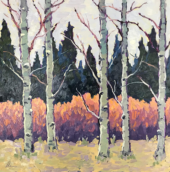 "Blue River Aspen, 16 x 16"", Oil, © Dena Peterson"