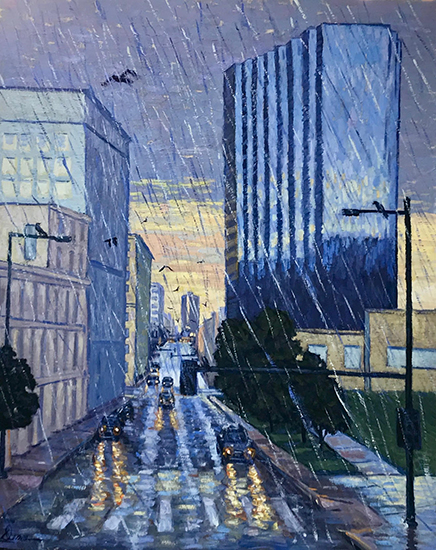 "Denver in the Rain, 36 x 24"", Oil, © Dena Peterson"