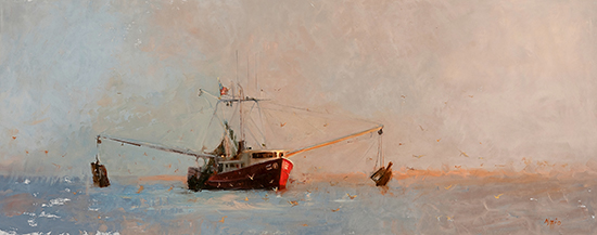 "Fish, It's What's for Dinner, 14 x 36"", Oil on Panel, © Donna Nyzio"