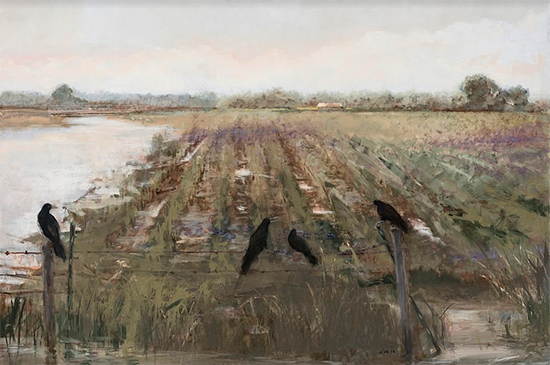 "Flooded Field, 24 x 36"" Oil on Panel, © Donna Nyzio"