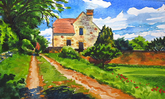 Watercolor painting of back lane in Domme, France, by John Hulsey