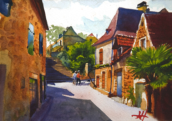 Watercolor painting of a street in Domme, France, by John Hulsey