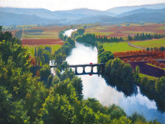 oil painting of the Dordogne Valley by John Hulsey