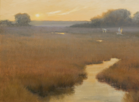 Evening Rapture, oil painting of marsh, © Mary Erickson