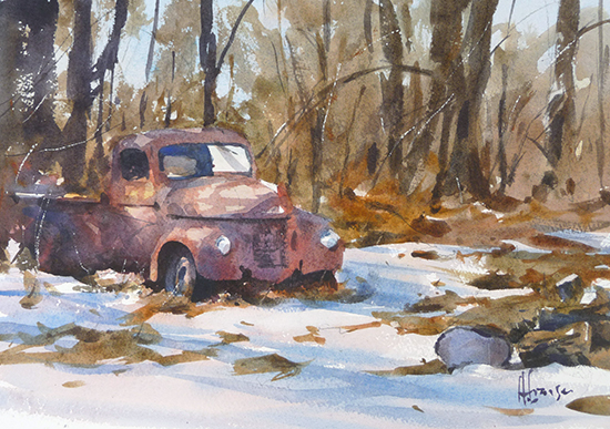 watercolour of old truck in snow by Andy Evanson.