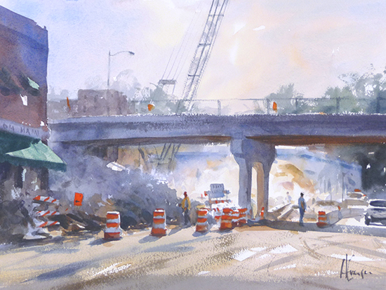 watercolor painting of bridge construction  in bright light.