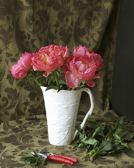 My Composition of Coral Charm Peonies