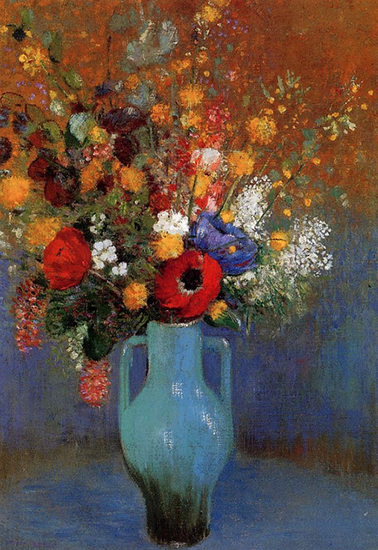 oil painting of flowers by Odilon redon