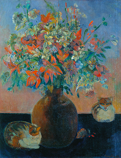 Oil painting of flowers by Paul Gaugin